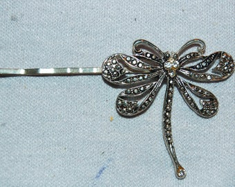 Dragonfly Marcasite Rhinestone Barrette / Hair Clip / Insect / Bug / old jewelry