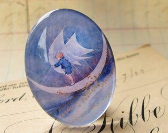 Sailing on the Moon, handmade glass oval cabochon, 40x30 30x40 40x30mm 30x40mm, little boy blue, children's illustration