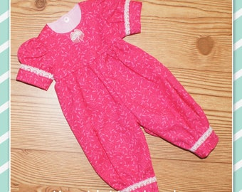 16 - 18 inch Baby Doll Clothes - Romper - Dark Pink with Lace Trim with Vine Pattern