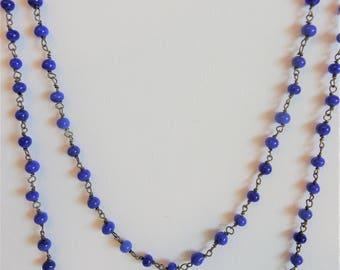 Vintage Long Lapis Blue Glass Bead Chain Flapper Necklace
