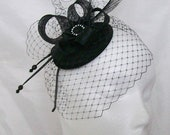 Black Vintage Fascinator Blusher Veil Pheasant Curl Feather Sinamay Loop & Pearl Crystal Gothic Wedding Mini Hat Headpiece - Made to Order