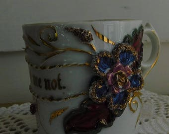 Victorian Era Child's Cup Mug Ornately Decorated Souvenir Mottor Cup Forget Me Not Made in Germany