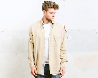 Vintage Beige LINEN Shirt . Men's 1990s Button Down Washed Linen Shirt 90s Natural Flax Top Summer Shirt Long Sleeve Shirt . size Medium