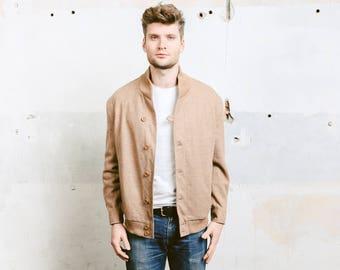 Vintage 70s Wool Bomber Jacket . Men's Vintage Brown Beige Harrington Blouson 1970s Button Down Wool Jacket . size Medium