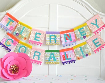 Name Garland, Personalized Garland, Felt Name Banner, Name Bunting, Baby Name Banner, Custom Name Garland, Name Banner, Rainbow Garland,