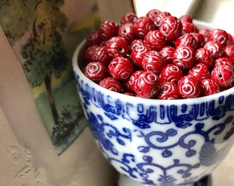 Art Deco beads,Vintage Glass Beads, Etched beads, beads,7mm beads,red glass beads,Flower beads,vintage findings,Unique beads, #1492S3