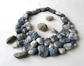 Felted  necklace Grey stones necklace grey rock  wool necklace Unique jewelry Women fiber necklace felt  lariat gift for her  outdoors gift