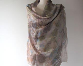 Silk scarf Grey beige scarf ecoprint plant print scarf blue silk scarf women Leaf pattern botanical print Eco dye silk scarf handpainted