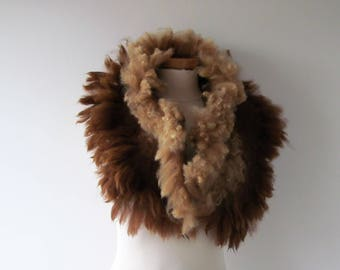 Alpaca Fur scarf Curly Felted collar Brown felt collar  Alpaca wool collar  Fur scarf  Pure Wool Fleece real fur scarf outdoors gift