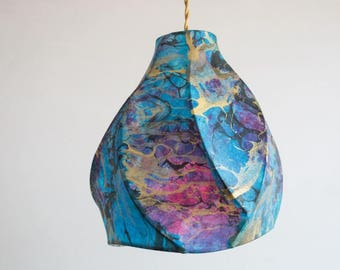 Pendant Light - Bohemian Decor - Paper Lanterns - Handcrafted Sculptural Lighting - Blue - Purple - Gold - Marble - Cosmos Camellia Pendant