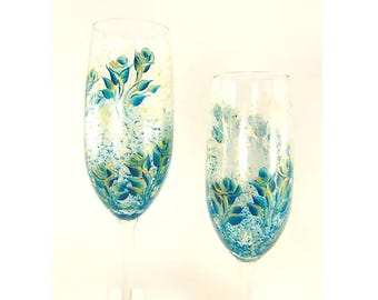 4 Hand Painted Teal and Gold Champagne Glasses - Elegant Teal Blue and Gold Roses  - Christmas 50th Wedding Anniversary Gifts Under 100