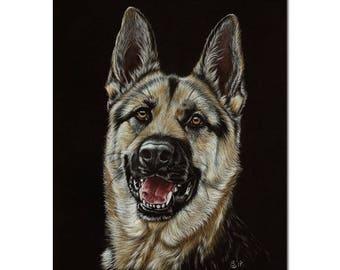 "GERMAN SHEPHERD 2 puppy dog Berger Allemand pencils painting Sandrine Curtiss ORIGINAL Art 8x10"""