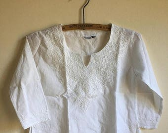 SUMMER SALE Kids Cotton Mexican Vintage White Tunic • Age 4 to 5 years
