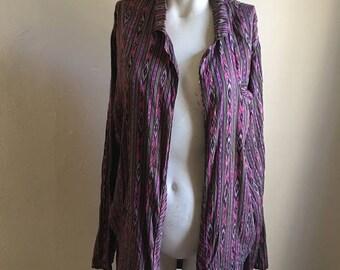 VDAY SALE 20% OFF Ikat Silk Open Boho Jacket •  Open Jacket Kimono