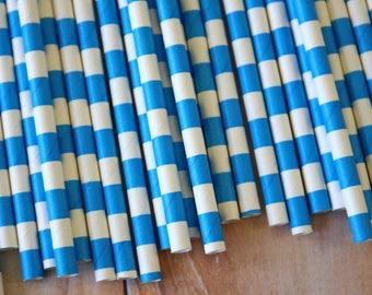 Malibu Blue Circle Stripe Paper Straws