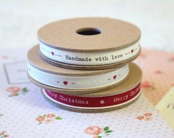 Handmade With Love Christmas Thin printed ribbons