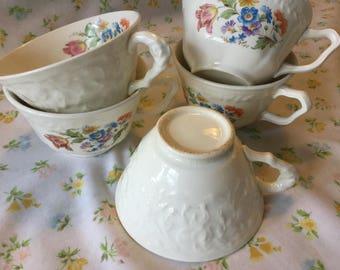 Lot of 5 vintage tea cups