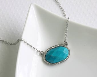 Turquoise Connector Necklace, Real Stone Necklace, Large Stone Pendant, Blue Gemstone Necklace, Celebrity Inspired, Real Stone Jewelry
