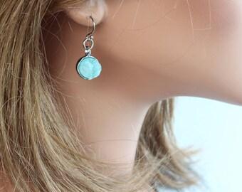 Druzy Dot Earrings - Gemstone Earrings - Celebrity Inspired - Dangle Earrings - Everyday Earrings - Blue Druzy Earrings - Small Earrings