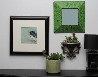 "framed wall art - ""Blue Warbler Reflection"" - original painting -  metal mirror - wall sconce"