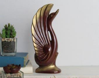 chestnut brown gold swan- Vintage Art Figurine   - ceramic - bird lovers-Swan