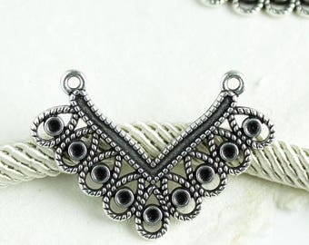 25%OFF Filigree Connector V Shaped multi loop pendant boho ethnic tribal Necklace Charm Holders Antique Silver Patina European Zamak 1pc