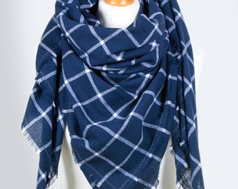 Blanket scarf WRAP, large cotton scarf, BLANKET plaid scarf in blue colour,  fashion oversized scarf, fashion accessories, gift ideas