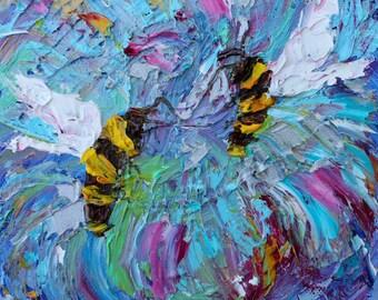 Bee Dance painting original oil 6x6 palette knife impressionism on canvas fine art by Karen Tarlton