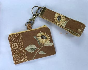 Sunflower ID Pouch & Key Fob Chain Wristlet - Ear Bud Case - Blue Tooth Case - iPhone 7 EarPod Case - Ready to Ship