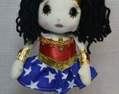 RESERVED Wonder Woman Inspired Art doll cute Fantasy button eye Gift Handmade OOAK Collectible  OCR super hero
