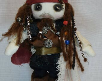 JACK Sparrow Doll Inspired  by Pirate of the Caribbean OOAK Handmade Art doll cloth doll collectible Pirate doll rag