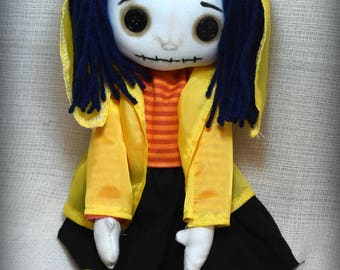 Coraline Button Eye Mini Me  Inspired Creepy cute  Handmade Art doll cloth collectable Gothic rag doll home decor