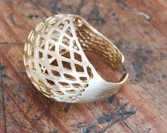 Golden brass ring, Adjustable ring, Net ring, Statement ring, web ring, romantic ring