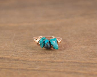 Turquoise Chip 14k Rose Gold Fill Wrap Ring - Stackable