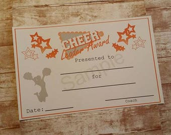 Cheerleading Cheer Leader Award Certificate-Cheer Award-Instant Download-Printable Item-Printable Certificate-Athletic Award