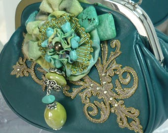 retro chic green flower painted silk, turquoise stones and beaded clutch