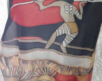 Aboriginal inspired chiffon scarf