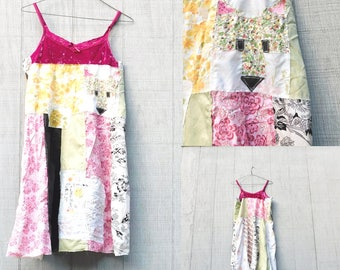Upcycled Tunic, ReFashion, Mixed Media Art, Fox Dress, Collage, Quilt Block, Patchwork Shirt, Wearable Art, Fun Clothes, Tank dress, Eco
