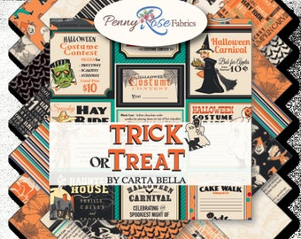 """Trick or Treat Charm Pack - Halloween Charm Pack - Halloween Fabric - 5"""" Inch Precut Fabric Squares - Penny Rose Fabrics"""