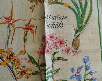 1970's Vintage Unused Australian Orchids Linen Hand Printed Tea Towel