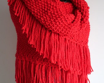 Bright Red Color Knitted Chunky Acrylic Yarn Large Size Shawl Wrap Stole with Fringes Tassels