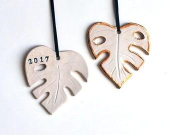 Monstera Leaf Ornament, White, Personalized, Ceramic, Pottery, Porcelain -Philodendron Leaf, Christmas Tree Ornament - Lauren Sumner Pottery