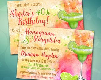 Margarita Invitation / Bridal Shower, Birthday, Fiesta, Cinco de Mayo / Watercolor Invite / Bright Pink, Lime, Orange / Margaritaville