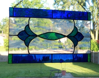 Classic Design // Stained GLass Panel // Rich Dark BLue and Multi Colored // Small // Mid Century // Square // Timeless // Floral // Flowers