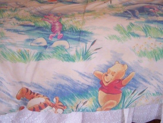 Vintage Twin Size Winnie the Pooh Blanket, Reversible