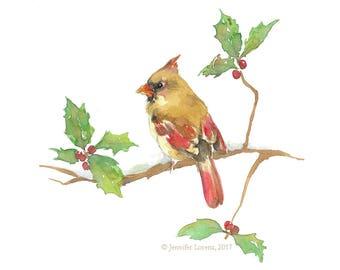 Cardinal on a Holly Branch print