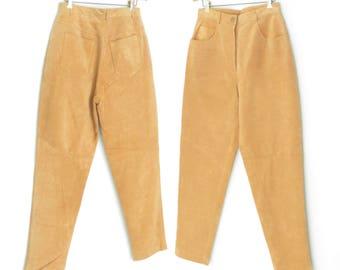 Leather Pants * Vintage Highwaist Pants * 80s Pants * Leather Trousers * Medium