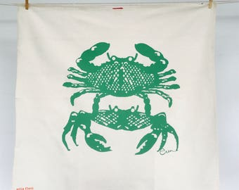 Kelly Green Crabbies Tea Towel - READY TO SHIP