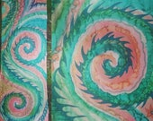 A dragon patterns abstract silk scarf in green, teal, pink, orange designed for Amber