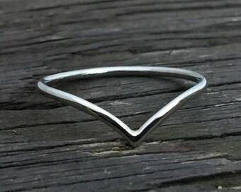 Platinum ring, platinum chevron, platinum wedding band, wishbone ring, platinum wrap ring, platinum skinny band